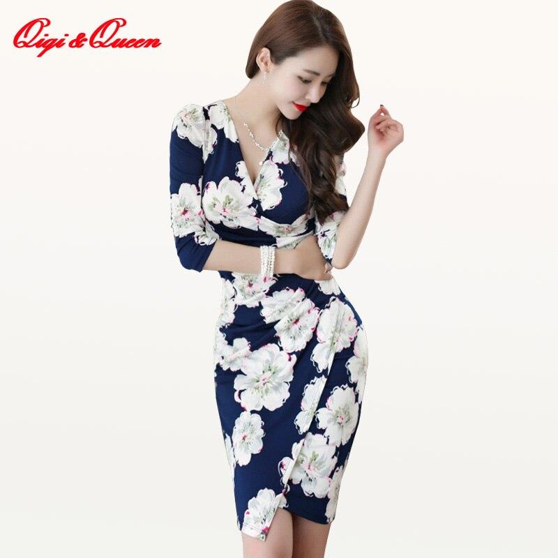 Qiqi y la reina Sexy impresión acanalada vestido flor Floral lápiz vestido de las mujeres 2018 otoño dividido Boho funda Vestidos Bodycon Slim Vestidos