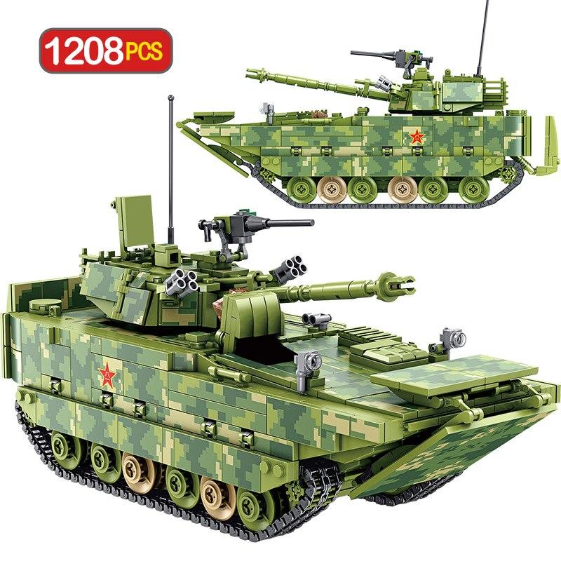 Bloques de construcción técnica de la ciudad 1208 Uds. Tanque militar WW2 vehículo de combate de infantería anfibia ladrillos juguetes para niños