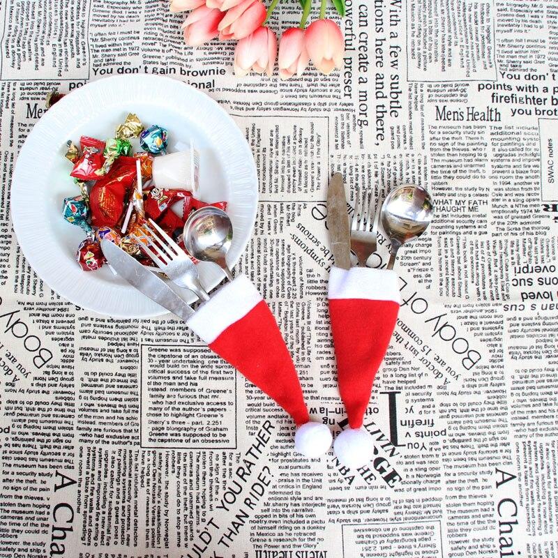 10 unids/set Año Nuevo navidad botella de vino tinto pequeño sombrero adorno...
