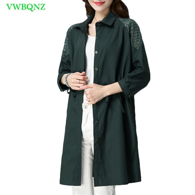 Single Windbreaker Coat Female Thin Spring Autumn Long Loose Trench Coats Korean Women's Hollow Tie Outerwear Plus size 4XL A621