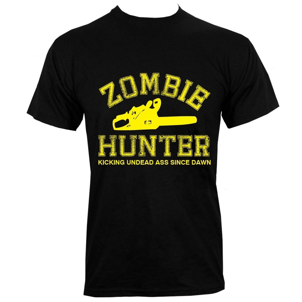 Zombie Hunter Mens Black T-Shirt Funny Clothing Casual Short Sleeve T shirt Summer 2018 100% Cotton