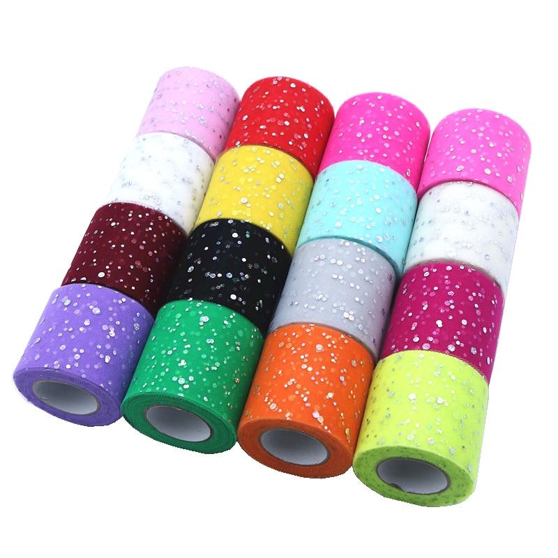 25 yardas 6,5 cm Baby Shower brillo rollo de tul de lentejuelas carrete para tela Tutu fiesta cumpleaños boda decoración favores suministros para eventos