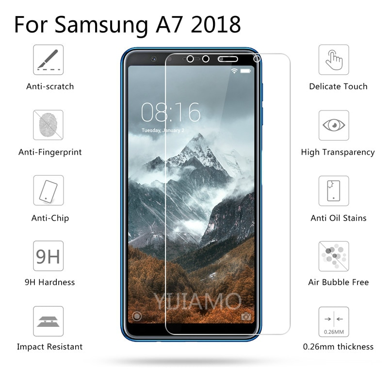 9H Tempered Glass For Samsung Galaxy A7 2018 Screen Protector for Samsung 2018 A7 protective film Fo