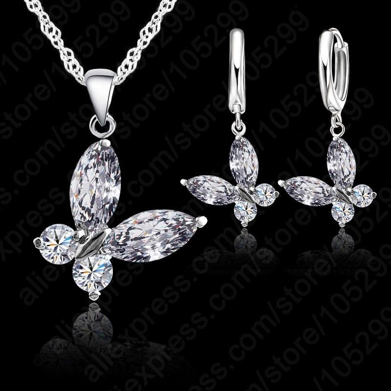 Frete grátis cristal borboleta com moda feminina curto pingentes de corrente colar + brincos conjunto jóias para as mulheres