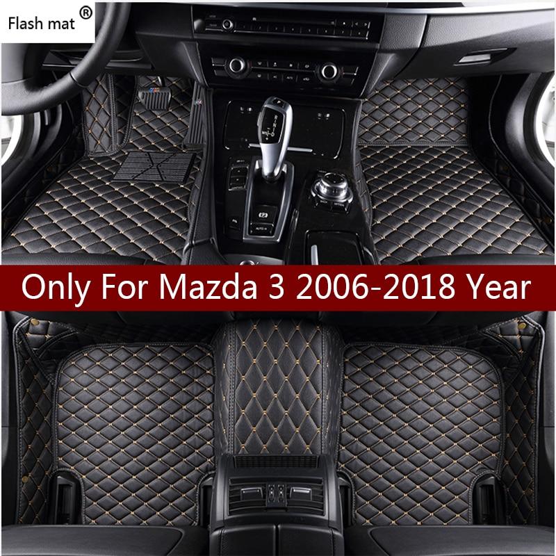Tapete de couro para piso do carro, tapete flash mat para mazda 3 323 2006-2013 2014 2015 2016 auto personalizado capa para tapete automotivo