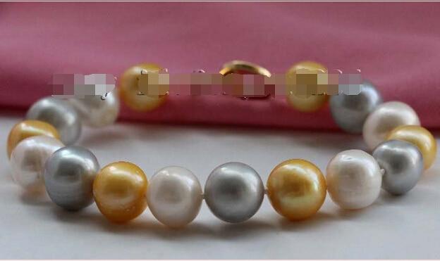 "8 ""Genuino Natural 12mm Blanco Gris Oro Mezclado Pulsera Redonda de La Perla 14KGP # f2317! @ ^ Noble estilo Natural Fina jewe ENVÍO LIBRE 6.2"