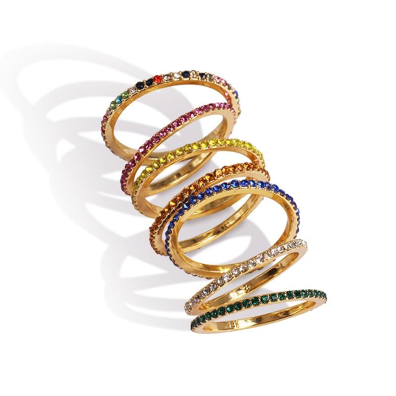 AOTEMAN 925 plata esterlina 7 colores pila apilable chica de moda mujer diseño joyería piedra de nacimiento arcoíris Mezcla color cz anillo