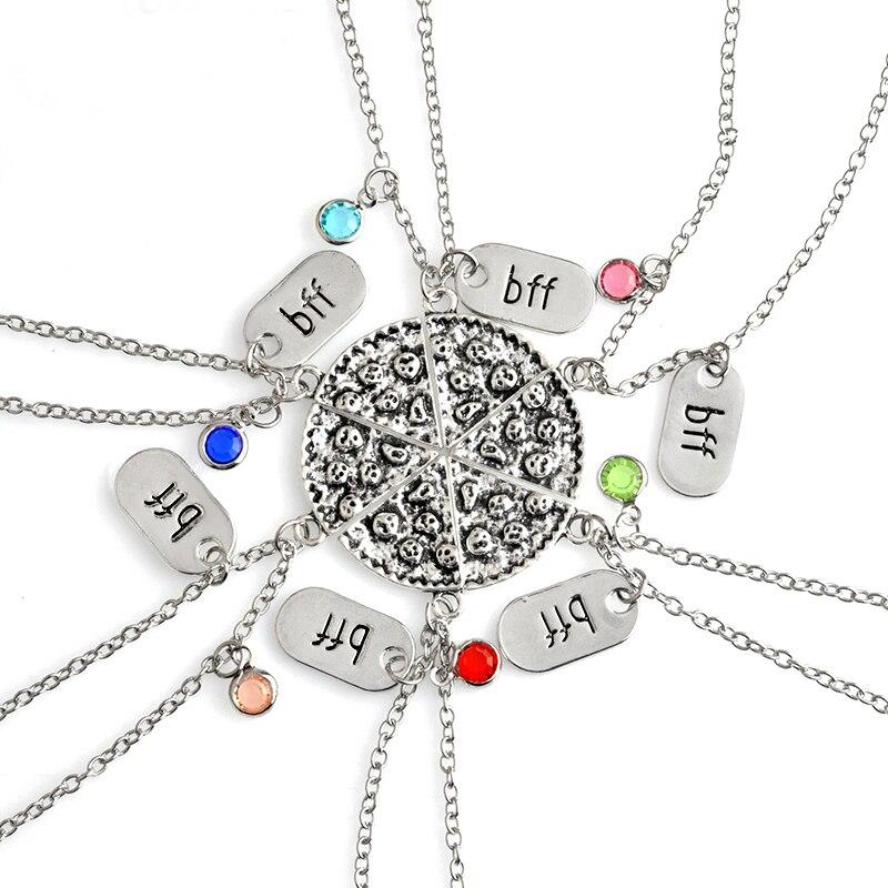 6 шт./компл. ожерелье с цветами пиццы BFF и стразами, памятное ожерелье с надписью «Best Friend Forever»