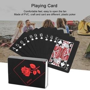 54pcs Quality Waterproof PVC Plastic Playing Cards Set Trend Deck Poker Classic Magic Tricks Tool Pure Black Magic Box-packed
