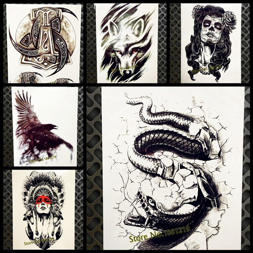 Vivid Большая Черная Кобра, временная татуировка змея для мужчин и женщин, 3D боди-арт, тату 21x15 см, на руку, на груди, водостойкие поддельные тату...