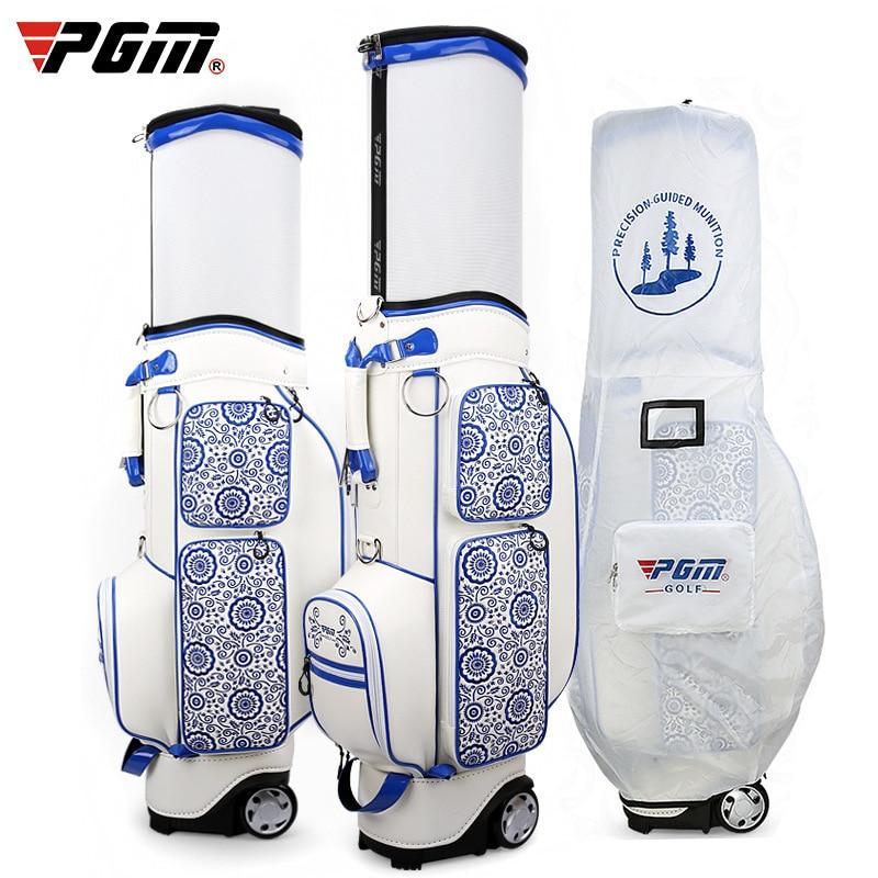 PGM Golf estándar bolsa de bola azul y blanco porcelana bordado Golf Airbag de alta gama retráctil Trevalling paquete D0739