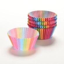 100 Pcs Muffins Papier Cupcake Wrappers Regenboog Kleur Bakselkoppen Gevallen Muffin Dozen Cake Cup Decorating Gereedschap Keuken Benodigdheden