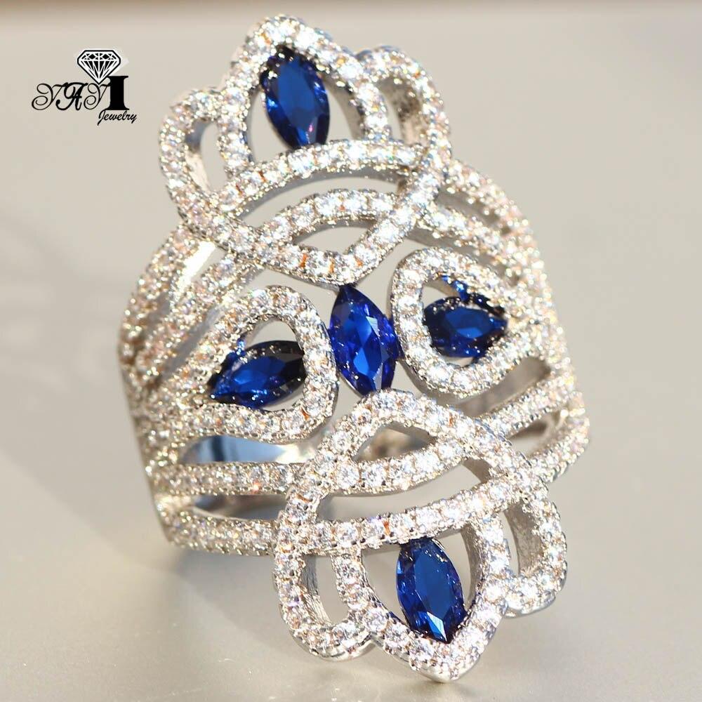 YaYI biżuteria księżniczka Cut 6.9 CT niebieskie z cyrkonią kolor srebrny obrączki obrączki ślubne dziewczyny Party pierścionki prezenty 847
