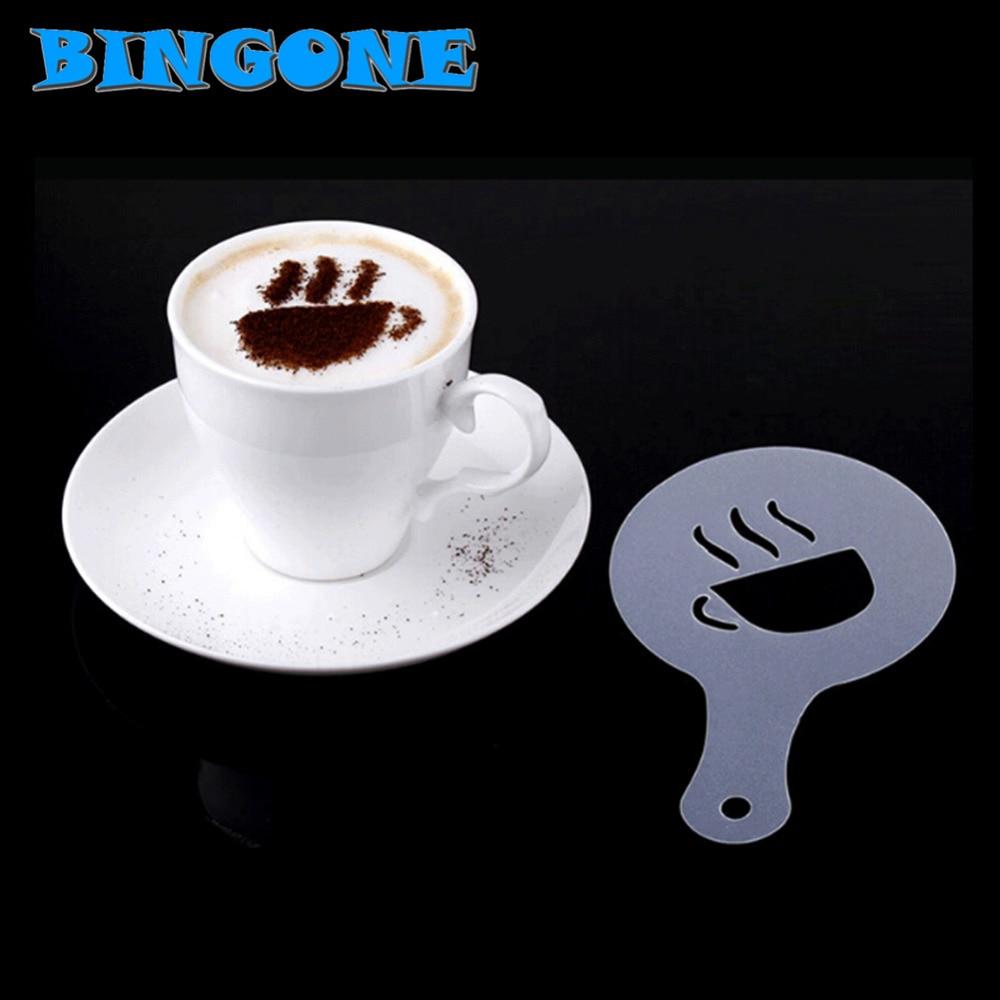 16 Pcs/set DIY Coffee Drawing Cappuccino Mold Printing Model Coffee Foam Spray Cake Stencils Powdered Sugar Sieve Tools -TF