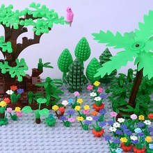 DIY klocek MOC akcesoria części trawa kwiaty rośliny drzewo kokosowe diamentowe klocki cząstki zabawki