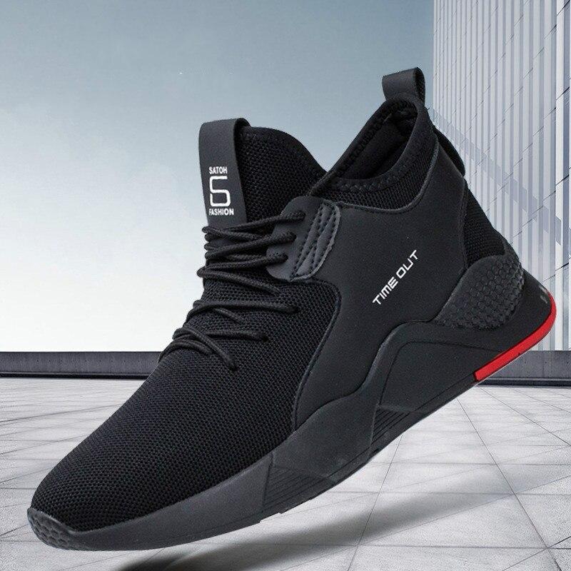 Oeak zapatos vulcanizados de Hombre Zapatos de torridez negro Nuevo transpirable Casual deportes Hombre Zapatos Zapatillas de malla planos más 39-44