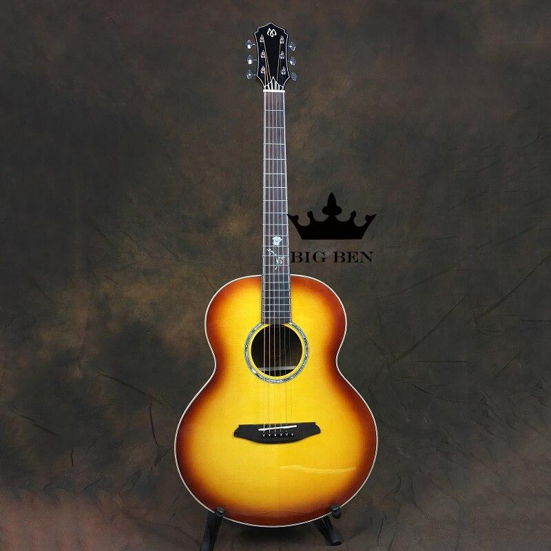 Tipo barril guitarra acústica de madera sólida superior Alto Rendimiento de gama 41 pulgadas guitarra picea superior madera 41 pulgadas folk hueso de bovino guitarra
