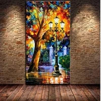 cheap modern abstract oil painting rain tree road palette knife 100 hand painted wall decor painting on canvas for living room