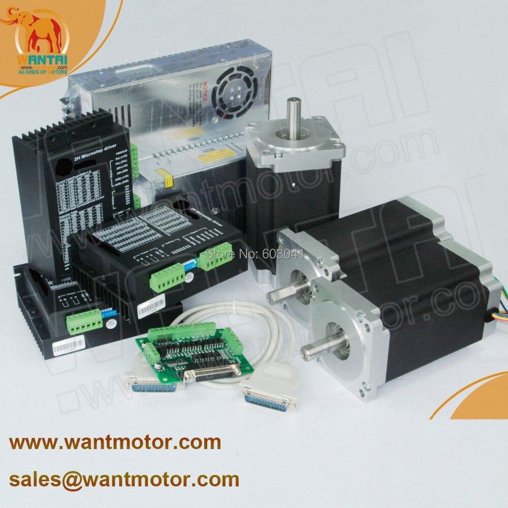 (60% de descuento) Motor paso a paso Nema 34 1232ozin, 5.6A, eje de 14mms, 3 ejes Wantai CNC grabador CE ROhHS... ISO9000 de alta calidad