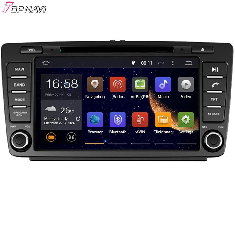Topnavi 8 четырехъядерный Android 6,0 Автомобильный DVD проигрыватель для SKODA OCTAVIA 2005-2008/2013-16 GB Flash Авторадио GPS навигация