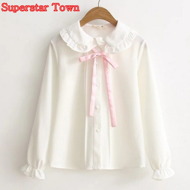 Mulheres Blusa Branca Gola Peter Pan Básica Feminino Blusa Japonês Rosa Suave doce Arco Camisa Branca Camisa Mori Harajuku Bonito menina