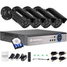 DEFEWAY 8 채널 1080N DVR 1200TVL 720 P HD 야외 보안 카메라 시스템 1 테라바이트 하드 드라이브 8CH HDMI CCTV DVR 키트 AHD 카메라 세트