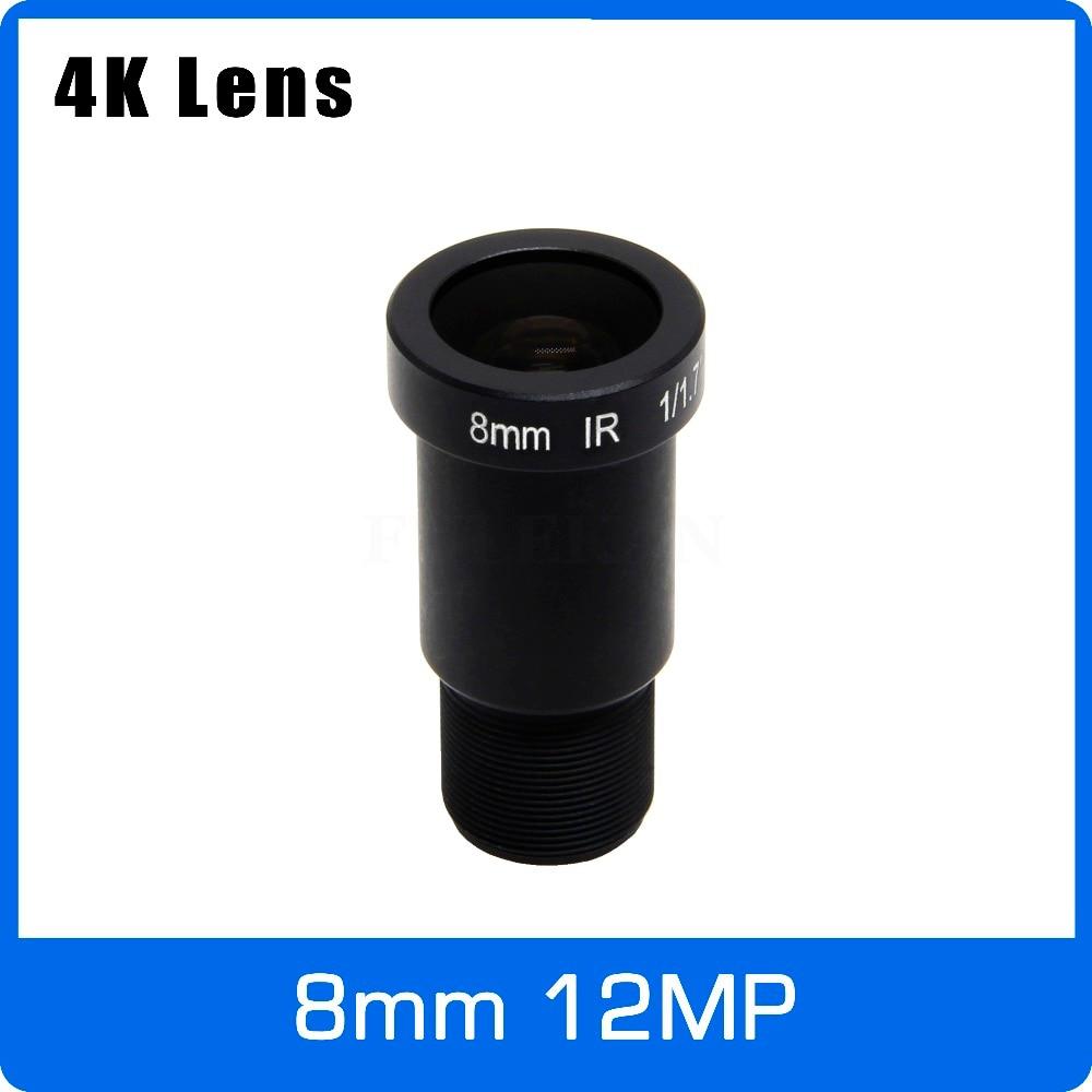 4K Lens 12Megapixel Fixed M12 Lens 8mm Long Distance View 1/1.7 inch For IMX226 IMX178 4K IP CCTV camera or 4K Action Camera