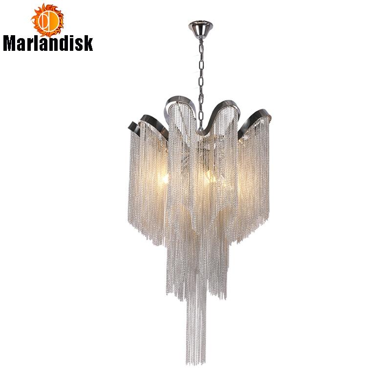 Современная алюминиевая Подвесная лампа Роскошные Алюминиевые цепочки E14 основание для внутреннего подвесного светильника для бара столовой гостиной спальни (DQ-50)
