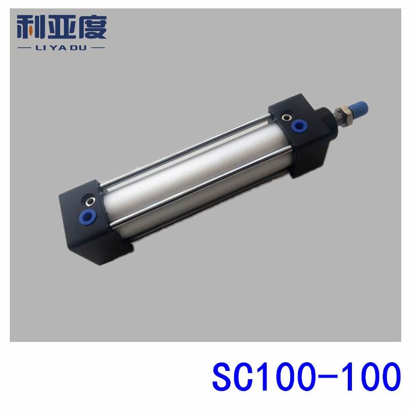 SC100 * 100 varilla de aleación de aluminio cilindro estándar SC100X100 componentes neumáticos 100mm diámetro 100mm carrera