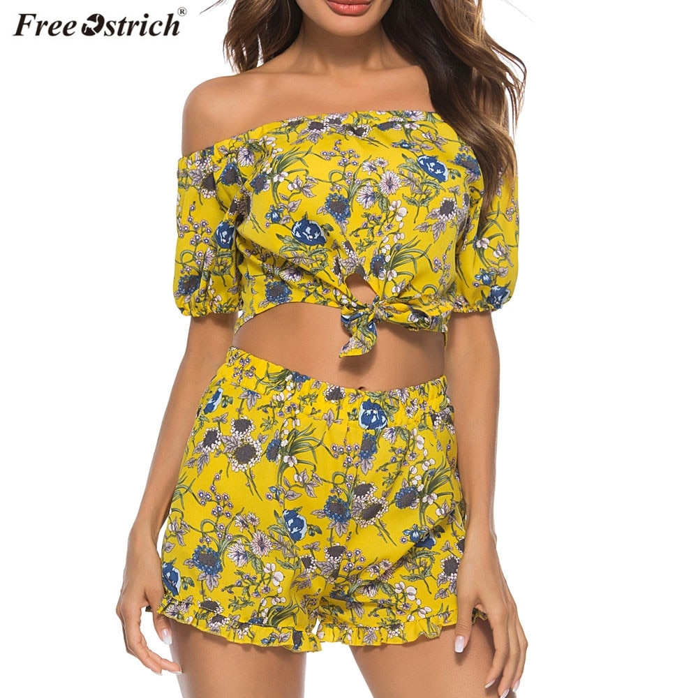 FREE OSTRICH Womens Off Shoulder Floral Print Tank Tops+Shorts Two Piece Setts Suits 2019 Fashion Bandage|Спортивные костюмы| |