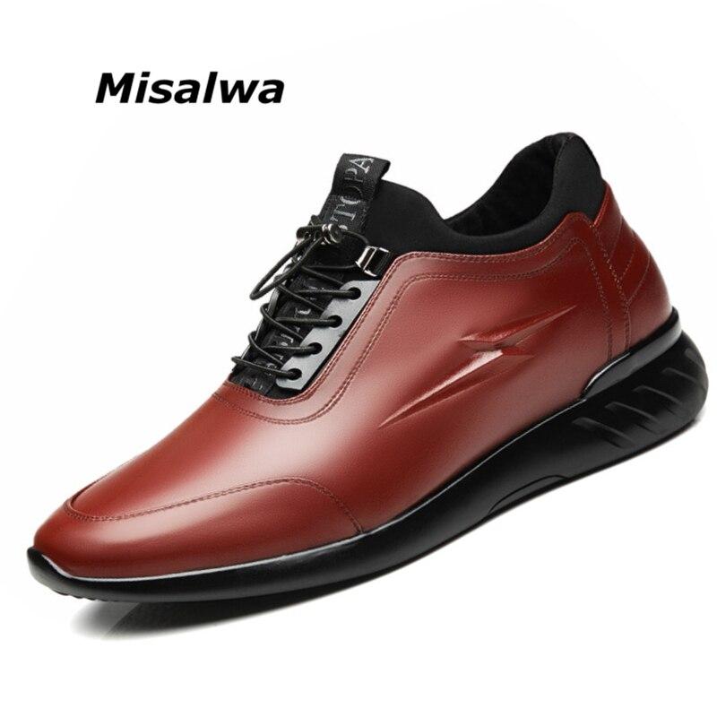 Misalwa-chaussures en cuir pour hommes, espadrilles décontractées, ascenseur Invisible, augmentation de la hauteur, 5 CM / 7 CM, 2019
