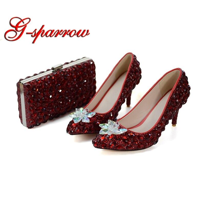Vinho tinto de Cor Sapatos Combinando com Saco Da Dama de honra da Festa de Casamento Sapatos de Luxo Strass Dedo Apontado Saltos de Baile de Cinderela 8 cm