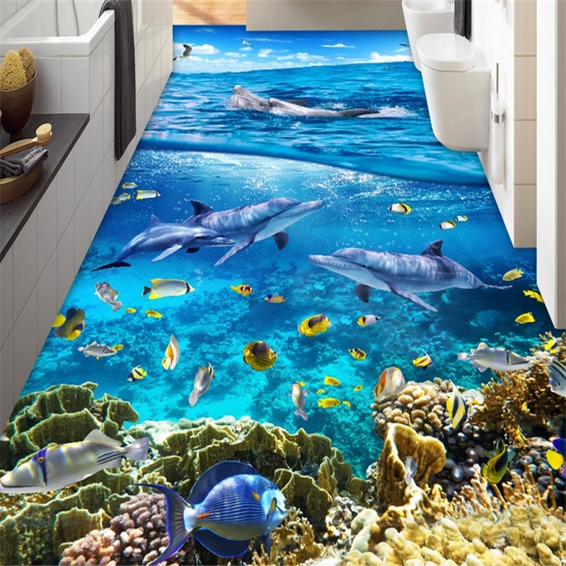 Papel pintado beibehang para habitación, mural de belleza de PVC, papel pintado de suelo autoadhesivo, conchas de olas 3d, papel de pared para baño de estrellas de mar y playa