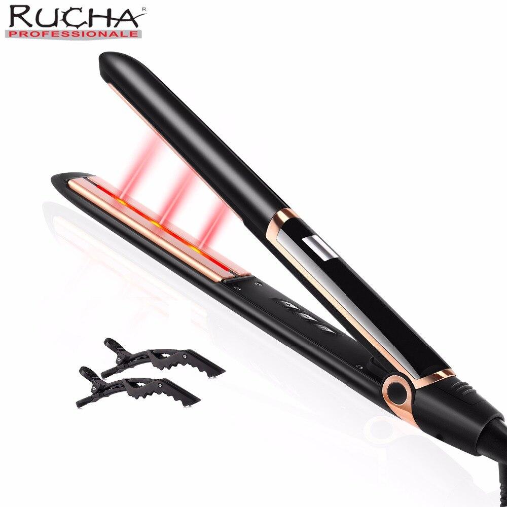 RUCHA 2 в 1 керлинг и выпрямление волос Турмалин Керамические анион выпрямление волос с инфракрасным Уход за волосами утюжок для выпрямления в...