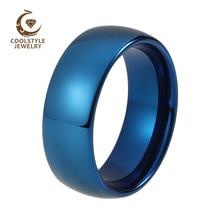 8mm Hartmetall-hochzeits-band für Männer Frauen Blau Überzogenes Gewölbtes Poliert Glänzenden Comfort Fit Kundenspezifisches Gravur auf Top