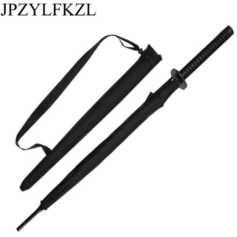 8K Creative black Japanese Long Handle Large Windproof Samurai Sword Umbrella Japan Ninja Sun Umbrella Straight Umbrella Open