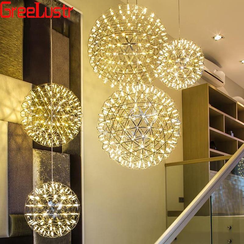 الحديثة لوفت الألعاب النارية قلادة Lampfixtures G4 شرارة الكرة Hanglamp لماعة الفولاذ المقاوم للصدأ الثريا الكرة المنزل الإضاءة AC110-240