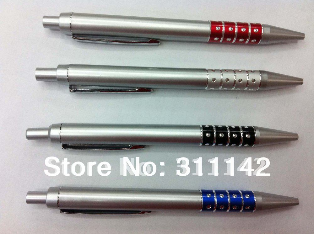 Bolígrafo de plata con diamantes a precio barato con logotipo personalizado