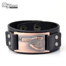 My shape Axe Mental pendentif hommes Bracelets en cuir dieu slave de Peron véritable Bracelets en cuir chaîne de mode bijoux livraison directe
