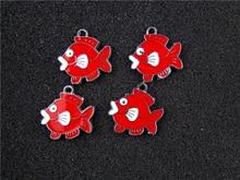 AE814 Mix Color 100Pcs Alloy Metal Enamel Fish Charms Pendant 24x23mm bead