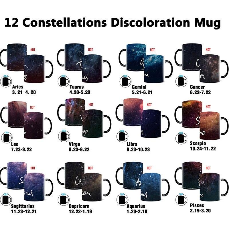 Креативные Волшебные Звездные кружки, 12 созвездий, кружка, меняющая цвет, чашка черного неба, керамическая кофейная чашка, рождественский п...