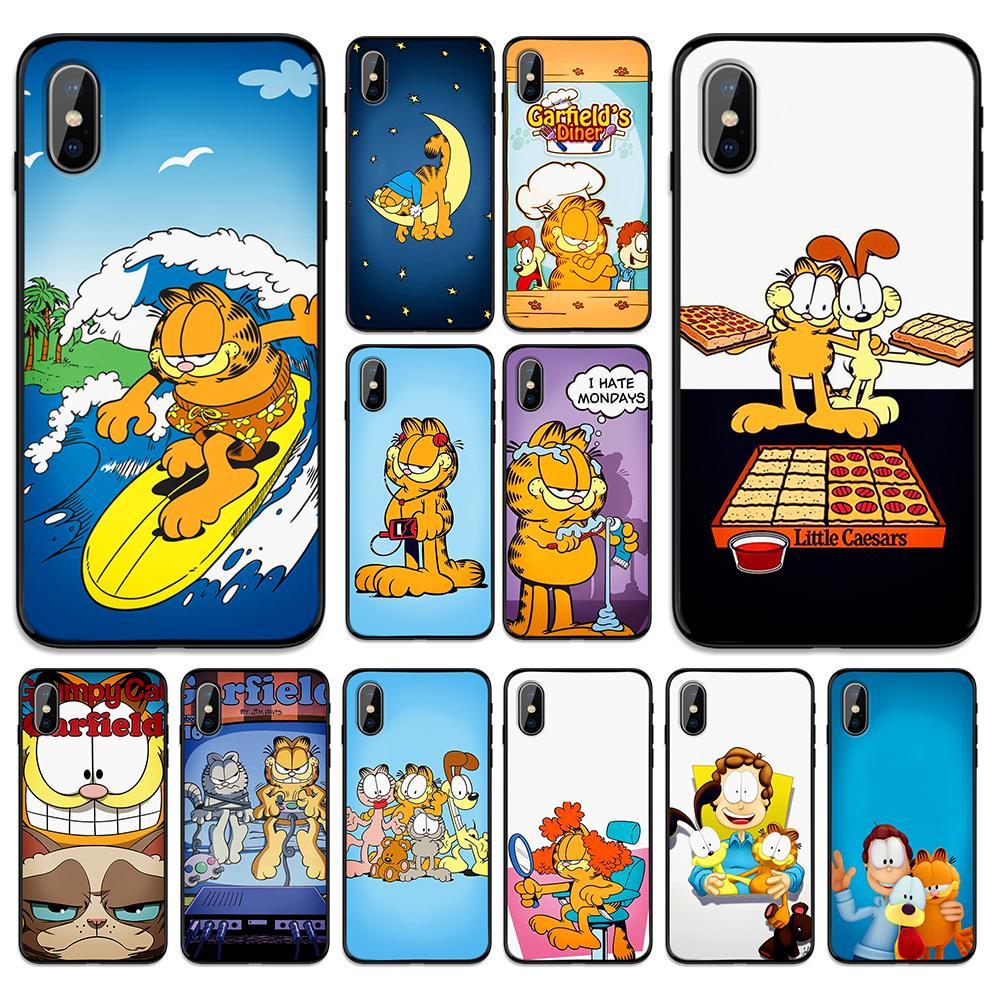 Dibujos Animados animal Garfield adorable gato suave TPU funda para Apple iPhone 6 6S 7 8 Plus 5 5S SE X XS X MAX XR casos de silicona