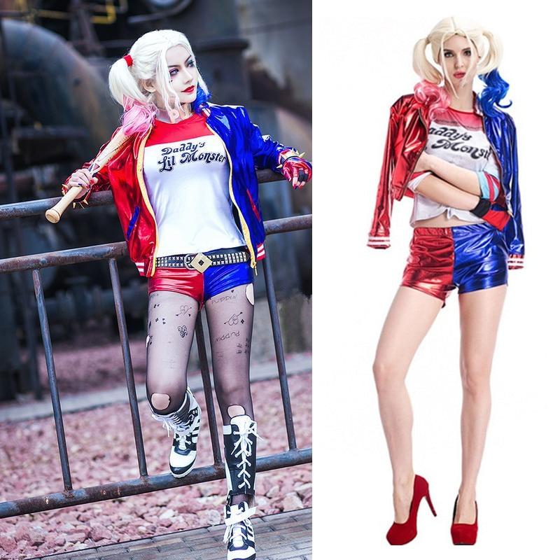 Frauen Mädchen Harley Quinn Kostüm Cosplay Purim T-shirts Top Jacke Mit Perücke Kostüm Halloween Kostüme