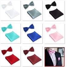 HOOYI 2019 conjunto de corbatas de lazo para hombres bolsillo cuadrado boda pajarita pañuelo mariposa toalla