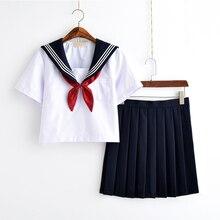 Biała uczennica jednolita japońska klasa marynarki wojennej marynarz mundury szkolne studenci ubrania dla dziewczynek Anime COS marynarz granatowy garnitur