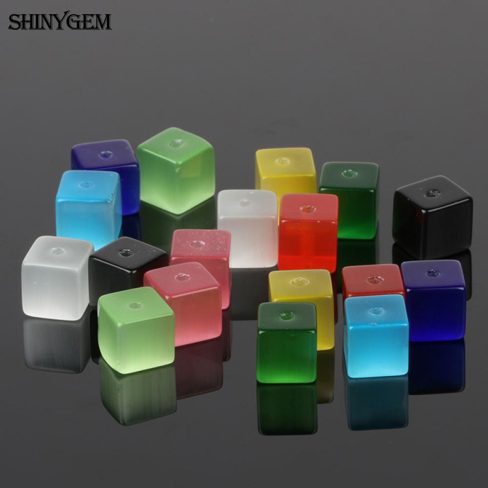 ShinyGem 4mm/6mm Cat Eye Cube Bead Mix Random Colors Gradient Fluorescence Tiny Natural Stone Beads For Jewelry Making 20pcs/Lot