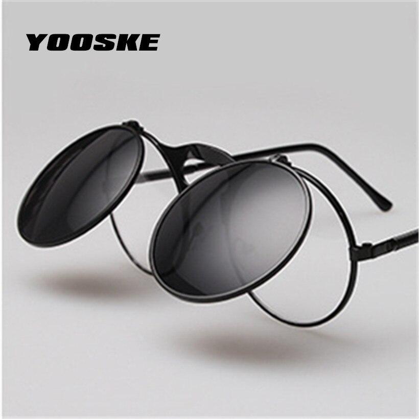 YOOSKE de alta calidad Steampunk gafas de sol de las mujeres de la marca de los hombres de la ronda de la cubierta gafas Metal monturas hombre mujer gafas de sol