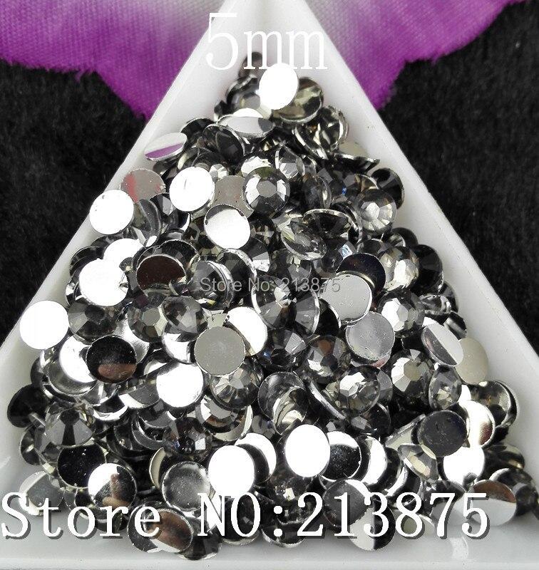 Envío Gratis 2500 piezas múltiples facetas gris transparente resina 5mm plana Rhinestones uñas arte apliques strass SS20 no caliente arreglar