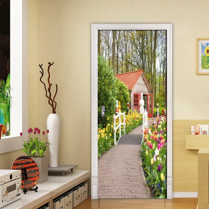 3D Красивая садовая дорожка, фото, настенная бумага, дверная наклейка для гостиной, спальни, двери, ПВХ, самоклеящиеся, водонепроницаемые, Дек...