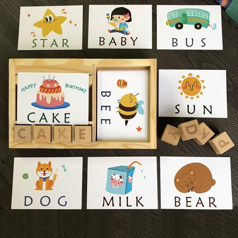 Монтессори, Обучающие английские карточки, алфавит, орфографические слова, детские игры, орфографические слова, строительный блок, Ранние развивающие игрушки